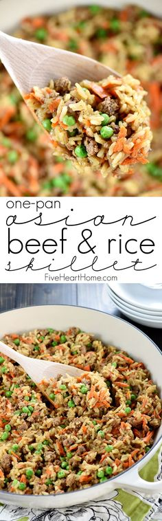 Asian Beef & Rice Skillet ~ a quick and easy dinner recipe requiring a simple list of all-natural ingredients, only one pan, and under 30 minutes to make from start to finish! {Hamburger Helper Rice Oriental copycat recipe} | FiveHeartHome.com