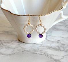 Amethyst earrings dangle earrings pearls and amethyst Round Earrings, Dangle Earrings, Circlet, Amethyst Earrings, Dangles, Pearls, Purple, Bracelets, Gold