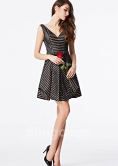 Ruched V-neck V-back Dacron Sash Short Length A-line Sleeveless Zipper Homecoming / Prom Dresses Prom 2016, Prom Dresses 2016, Evening Dresses, Wedding Dresses, Cheap Cocktail Dresses, Formal Gowns, Black Stripes, Sash, V Neck