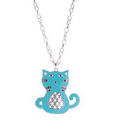 Look at this #zulilyfind! Blue Enamel & Silvertone Cat Pendant Necklace #zulilyfinds