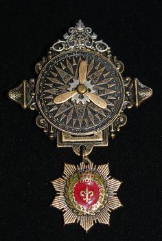Steampunk airship award brooch