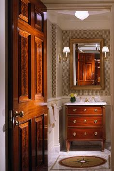 Powder room | Antique dresser turned into vanity | John B. Murray Architect.