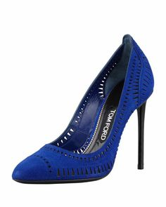 Laser-Cut Suede Pump, Cobalt by Tom Ford at Neiman Marcus. Love the Royal blue!