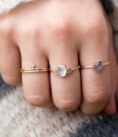floating diamond stack ring / audry rose