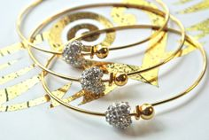 Mini Heart Gold or Silver Bangle by linzgutz on Etsy, $25.00