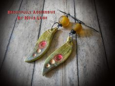 Beautifully Aggressive Earrings - polymer clay and recycled glass in glowing earthtones