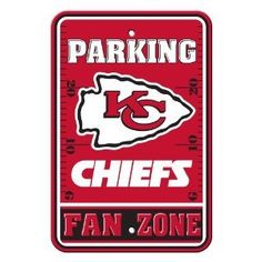 Kansas City Chiefs Parking Sign **  https://allstarsportsfan.com/product/kansas-city-chiefs-parking-sign/  The sign is made of thick vinyl and it measures approximately 18″ X 12″. There is a pre-drilled hole for hanging.