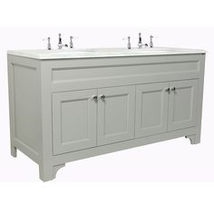 Chatsworth Four Door Double Vanity Unit Width Shown Depth Height Colour Shown Farrow and Ball Manor House Grey with Carrara Marble top and two under mounted oval basins