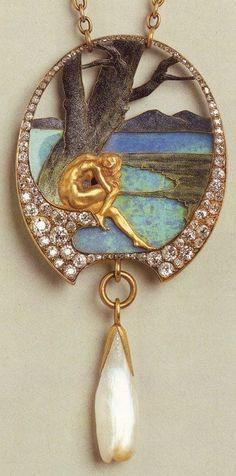 Opal, enamel, diamond and pearl pendant.