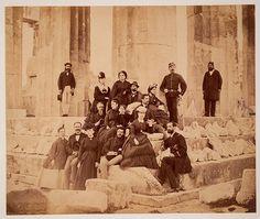 tourists on parthenon  abt 1860