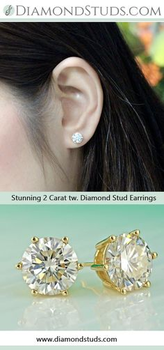4bf2b3706 Certified 14k White Gold 4-Prong Basket Round Diamond Stud Earrings 2.00  ct. tw. (H-I, SI1-SI2)