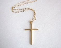 Looking for a simple gold cross necklace? This one fits the bill. Simple, elegant, and easily your next everyday necklace. A great layering necklace also. - Pendant - matte gold plated brass - tarnish resistant - x - Clasp + components - Gold-filled - Jane The Virgin, Kate Marsh, Fallout, Timothy Green, Quinn Fabray, Dana Scully, Satsuriku No Tenshi, Accesorios Casual, Everyday Necklace