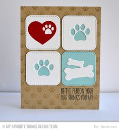 Pet Accents, Stitched Rounded Square STAX Die-namics, Paw Print Background, BB You Make My Tail Wag Stamp Set - Teri Anderson  #mftstamps
