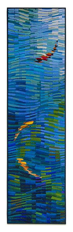 Koi Banner ~ Tim Harding - collage-layered, reverse applique of hand-loomed Indian silks