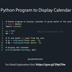 In this program youll learn how to Display Calendar using Python function. Pyth - C Programming - Ideas of C Programming - In this program youll learn how to Display Calendar using Python function. Computer Programming Languages, Computer Coding, Programming Tutorial, Learn Programming, Python Programming, Computer Technology, Computer Science, Arduino Programming, Linux