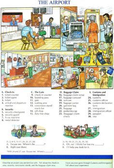 92 - THE AIRPORT - Picture Dictionary - English Study, explanations, free exercises, speaking, listening, grammar lessons, reading, writing, vocabulary, dictionary and teaching materials