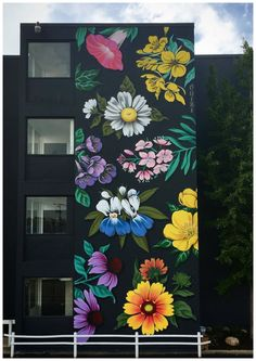 Ideas Street Art Graffiti Paint Murals For 2019 Graffiti Art, Murals Street Art, Graffiti Flowers, Flower Mural, Flower Art, Floral Flowers, Art Flowers, Wall Painting Flowers, Flowers Nature
