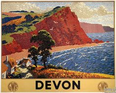 English Railway Travel Art Poster Print, Devon England by GWR Posters Uk, Train Posters, Railway Posters, Poster Prints, Art Prints, Jazz Age, Devon Holidays, British Holidays, British Travel