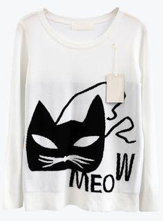 Cat Print Knit Sweater