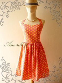 SALE Pink Yellow Dot Rockabilly inspired Dress by Amordress, $39.00