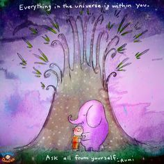 Everything in the universe is within you. Ask all from yourself. RUMI Buddha Doodles
