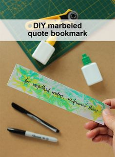 How to make a marble bookmark using shaving foam pin it