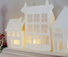 Grosgrain: Free Printables: Illuminated Mantle Village. christmas