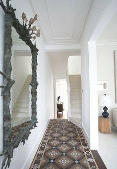 Entrance hall tiles ideas tiles design for hall floor tile ideas Tiles Design For Hall, Hall Tiles, Tiled Hallway, Entry Hallway, Hallway Ideas, White Hallway, Entry Tile, Hallway Mirror, Hallway Inspiration