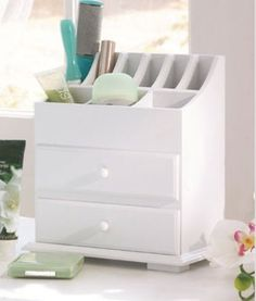 Vanity n Beauty Organizer with Drawers & Storage in White LDI http://www.amazon.com/dp/B00E6X4OWW/ref=cm_sw_r_pi_dp_.X9wub1TMEFP0