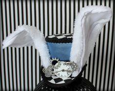 White Rabbit Mini Top Hat, Mini Top Hat, Alice in Wonderland, Mad Hatter Hat , Tea Party Hat , Mini Top Hat Fascinator, White Rabbit Costume by LittleMissHattitude on Etsy https://www.etsy.com/listing (Party Top Hats)