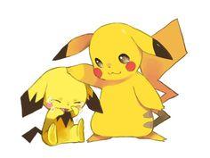 Pikachu and Pichu Pichu Pikachu Raichu, Pokemon Pokedex, Cute Pikachu, Cute Pokemon, First Pokemon, Ash Pokemon, Play Pokemon, Pokemon Stuff, Kawaii Drawings