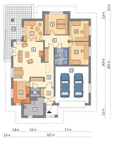 Rzut parteru Decoration, Planer, House Plans, Sweet Home, Floor Plans, Flooring, How To Plan, Little Cottages, Luxury Home Plans