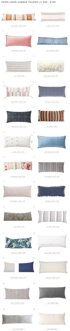 Our Extra Long Lumbar Pillow Roundup - $50 to $150