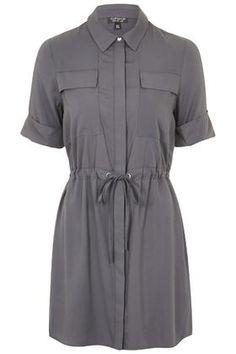 Drawstring Utility Shirt Dress