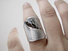 Wide statement unique band ring flower simple gap made by ZizouArT, $118.00
