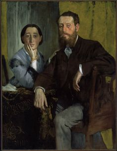 """Edgar Degas - """"Edmondo and Therese Morbilli,"""" c. 1865, France.  His sister and Brother-in-law (Marital Problems)"""
