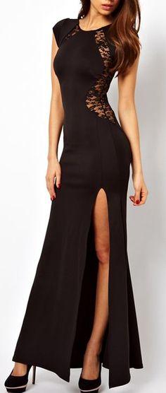 black slit lace side evening gown