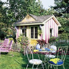 Cottage Charms An unassuming garden shed becomes a festive focal point with bold stripes and scalloped molding. Before you begin, add a coat or two of water-base primer to the facade -- it will help your creative expressions last longer. (Dream Home)! Outdoor Rooms, Outdoor Gardens, Outdoor Living, Outdoor Decor, Cozy Cottage, Cottage Style, Garden Cottage, Potting Sheds, She Sheds