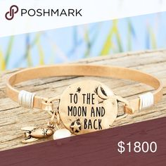 "⭐️COMING SOON⭐️""To the moon & back"" bracelet ⭐️LIKE TO BE NOTIFIED OF ARRIVAL⭐️ Add this inspirational bracelet to your next outfit!  Worn Goldtone 1"" Disk with Inscribed Message Rocket and Faux Pearl Bead Charms Wire Accents 2.5"" Diameter Hook Closure Lead Compliant Jewelry Bracelets"
