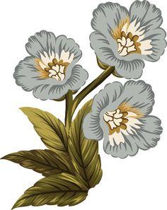 Folk Art Flowers, Botanical Flowers, Big Flowers, Flowers Nature, Botanical Prints, Flower Art, Floral Prints, Victorian Flowers, Vintage Flowers