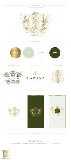 New Branding Design for Sapelo Skin Care | Mint, Gold, Green - Custom Crest, Monogram and Patterns #branding #skincarebranding #packaging by Emily McCarthy