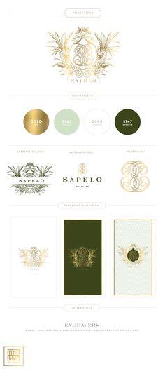 New Branding Design for Sapelo Skin Care | Mint, Gold, Green - Custom Crest, Monogram and Patterns #branding #skincarebranding #packaging by Emily McCarthy