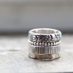 check out these rustic princess stacking rings by tinahdee. i love the alternating textures.