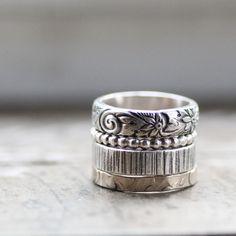 Rústico princesa anillos apilables por tinahdee en Etsy