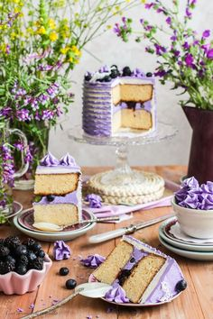 White Chocolate Layer Cake with Blackberries and Blueberries