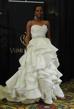 "Yumi Katsura - Spring 2013. ""Kinsei"" strapless silk satin and organza ball gown wedding dress with a sweetheart neckline and ruffle skirt, Yumi Katsura"