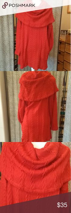 """Reborn Red Sweater/ Tunic. """"NWOT"""" Beautiful red cowel neck sweater in a cable knit like pattern with side pockets. Never worn.  Very soft with nice stretch. Gorgeous with tights and boots.❤Size XL 34.5"""" long. 26"""" sleeves. Reborn Sweaters Cowl & Turtlenecks"""