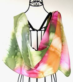 """This scarf pulls from both of your metals """"pattern"""" with a version of your Dramatic colors.    Hand painted silk scarf Boho scarf Spring scarf Tie by KavitaKriti, $35.00"""