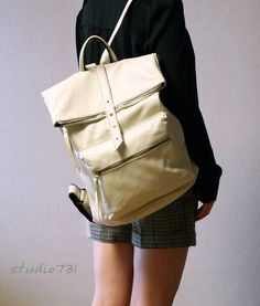 Square Shape Leather Backpack