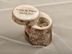 Engraved  Wood Wedding Ring Bearer Slice, Rustic Wooden Ring Holder ,  Burlap Ring Bearer Pillow on Etsy, $35.00